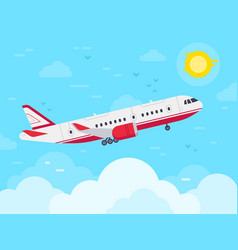 airplane flying in sky jet plane fly in clouds vector image
