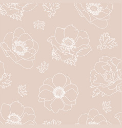 Anemone floral background seamless pattern vector