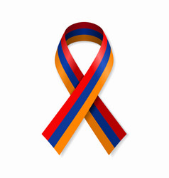 Armenian flag stripe ribbon on white background vector