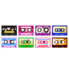 audio record tapes retro 90s music cassette vector image