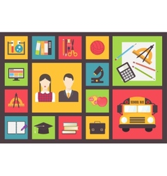 Back to school bus and equipment icons set flat vector
