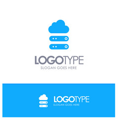 Big cloud data storage blue solid logo with place vector