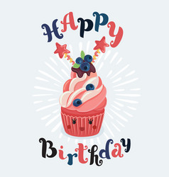 birthday cupcake in front a chalkboard vector image