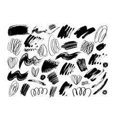 Black dry brushstrokes hand drawn set vector