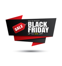 Black friday sale black and red banner template vector