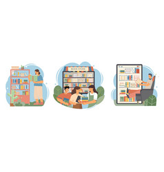book composition flat icon set vector image