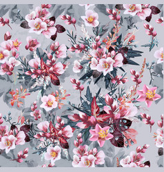 botanical pattern with pink cherry flowers vector image