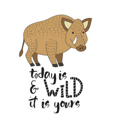 card with a wild boar and hand drawn vector image