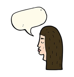 Cartoon female face profile with speech bubble vector