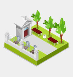 Cemetery concept 3d isometric view elements of vector