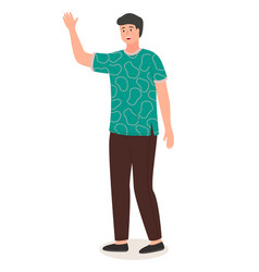 Chinese young guy waved a hand friendly man vector