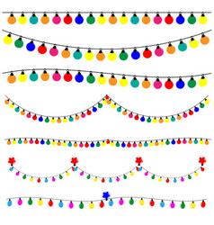 Christmas lights on white backgound vector