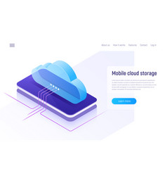 Cloud storage and technology web hosting data vector