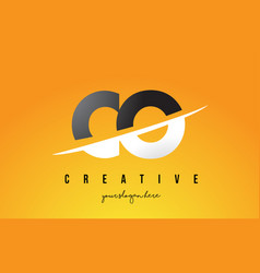 Co c o letter modern logo design with yellow vector