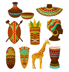 collection of authentic symbols of africa vector image