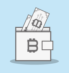 color wallet icon and bitcoin money currency vector image
