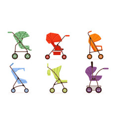 colorful bastrollers collection different vector image