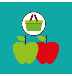 Commerce green basket tasty apple vector