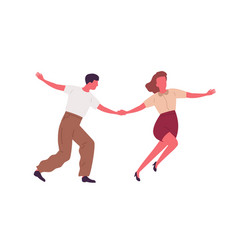 Couple dancing together holding hands flat vector