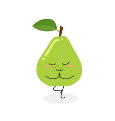 cute cartoon pear practicing yoga vector image