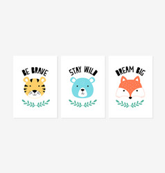 Cute posters with fox tiger and bear vector
