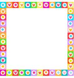 cute vibrant square love frame made of doodle vector image