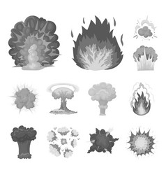 Different explosions monochrome icons in set vector