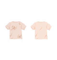 Dirty untidy tshirt with stains and neat clean t vector