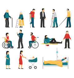 Disabled people set vector