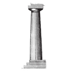 doric column from the temple of neptune at vector image