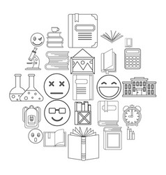 Educated person icons set outline style vector