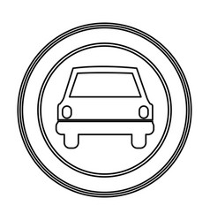 emblem round front car icon vector image