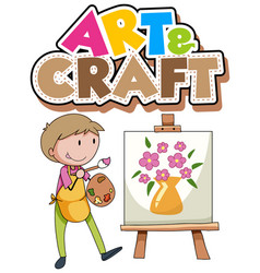 font design for word art and craft with boy vector image