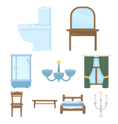 furniture set icons in cartoon style big vector image