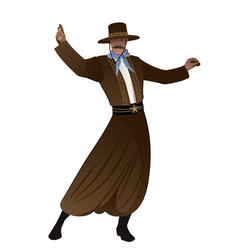 Gaucho with mustache and hat dancing typical vector