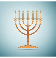 Gold Hanukkah menorah icon on blue background vector