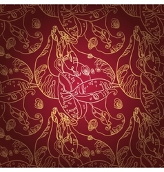 Golden lace ornament on deep red background vector