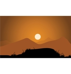 Golden sunset in the mountains vector