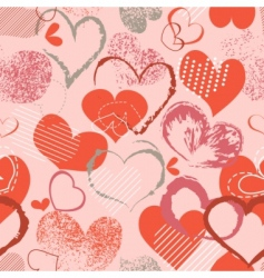 grunge hearts pattern vector image
