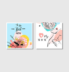 Hand drawn abstract greeting cards set with vector