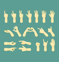 hand signs set various communication gestures vector image