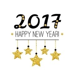 Happy New Year 2017 card with gold stars isolated vector