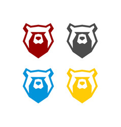 head bear animal logo template vector image