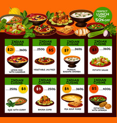 Indian cuisine menu with national dishes vector