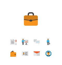 job icons flat style set with briefcase agreement vector image