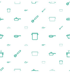 Kitchenware icons pattern seamless white vector