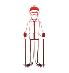 man with skis red lines vector image