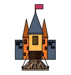 Medieval castle with drawbridge vector