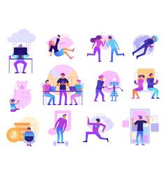 Modern technologies cartoon set vector
