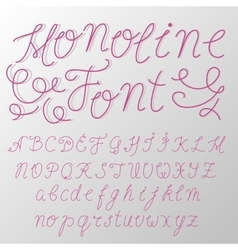 Monoline modern font script made by one line with vector